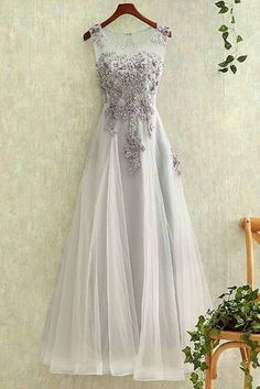 Appliqued gray tulle modest prom dress, homecoming dress, beautiful long dress for teens,4249 #homecomingdresses
