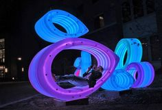 Public Art Designers Joe O'Connell & Blessing Hancock Public Art Designed An Installation Called Fish Bellies at the Texas State University in San Marcos, Texas Texas State University, Eco Architecture, Found Art, Light Installation, Sustainable Design, Light Art, Public Art, Urban Art, Sculpture Art