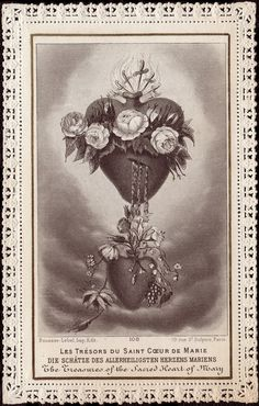 The Treasures of the sacred heart of Mary.  Prayer card written in German,  French,  and English.