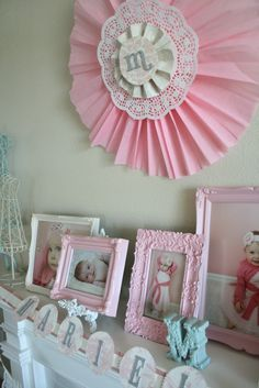 Pretty and Sweet 1st Birthday Party - Little Girls Party Ideas | Kara's Party Ideas; Initial doily