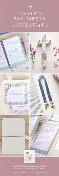 Enter to WIN! We're giving away everything you need to get started with a WAR BINDER! This giveaway, valued at $135.00, is chock-full of items from Live Oak Boutique and it also includes a beautiful Small Surrender Cross from RAD JOY! #warbinder #Giveaways #biblejournalingcommunity #warroom #prayerjournals #faithbinder #faithjournaling #wellwateredwoman #mightywomenofgod #womenOfGod #liveoakboutique #christianwomen #giftsforher #christiangifts
