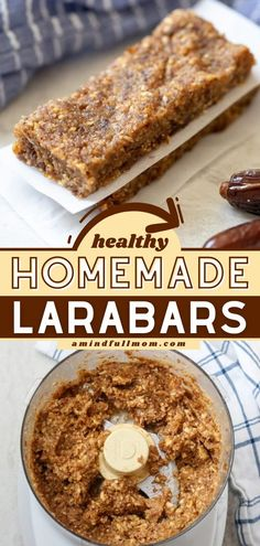 This homemade larabar recipe will become a staple at your house! With a base of 2 wholesome ingredients, this afternoon snack is healthy and delicious. Check out 8 flavor options you can try for this back to school food idea! Dairy Free Appetizers, Dairy Free Snacks, Easy Appetizer Recipes, Snack Recipes, Yummy Recipes, Breakfast Recipes, Easy Baking Recipes, Easy Healthy Recipes, Whole Food Recipes