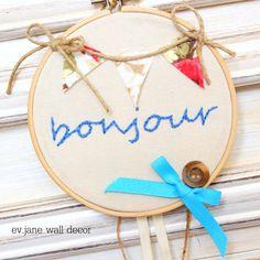 Bonjour Embroidery Hoop Art / 5.2'' 13cm / Blue by evjanewalldecor