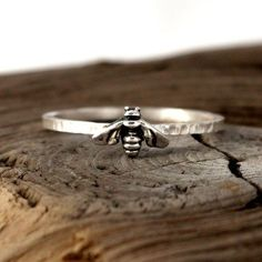 Bee ring. Tiny sterling silver ring, stacking ring, hammered band ring #ad