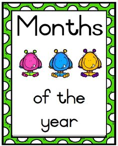 Months of the year, monster theme. 7 Pages, including coverpage (heading). 2 months per page, size Preschool Lessons, Afrikaans, Poster On, Months In A Year, Child Development, Beautiful Pictures, Printable, Classroom, A4 Size
