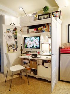 Small Home Office Cabinets Enhancing Space Saving Interior Design….still need a spot for that piece of furniture. Home Office Cabinets, Home Office Desks, Office Furniture, Furniture Ideas, Office Decor, Repurposed Furniture, Furniture Design, Camping Furniture, Furniture Online