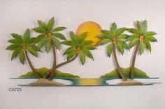 $119.99 on sale.  Coconut Palm Tree Oasis Metal Wall Art
