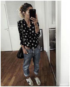 La tenue de l'autre jour en entier ✨ • Silk Top #realisationpar (on @realisationpar) • Jean #acnestudios (old) • Sneakers #goldengoose (from @lagrandeboutiquelgb) • Bag #jeromedreyfuss (from @lagrandeboutiquelgb) ...
