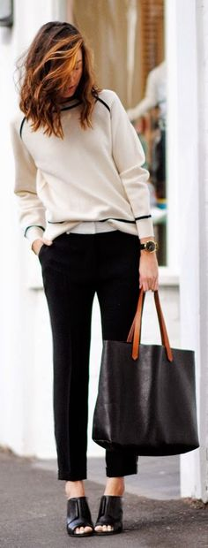 The Outnet Black Women's White Side Line Tailored Ankle Trousers