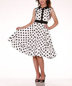 Another great find on #zulily! White & Black Polka Dot Fit & Flare Dress - Plus by HEARTS & ROSES LONDON #zulilyfinds
