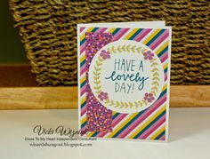 Birthday card using CTMH Confetti Wishes paper and Lovely Birthday stamp set. By Vicki Wizniuk