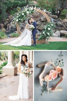 Circle arch with white floral and greenery at Arizona spring wedding featuring whimsical soft palette florals by Array Design, Phoenix, Arizona. Val Vista Lakes venue and Melissa Jill photography. Indoor Wedding Ceremonies, Wedding Ceremony, Spring Wedding Flowers, Candle Centerpieces, Ceremony Backdrop, Phoenix Arizona, Arizona Wedding, Groom And Groomsmen, Bridesmaid Bouquet