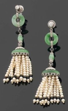 A pair of Art Deco tassel earrings with pearls, jadeite, diamond and onyx, set in platinum. Signed.