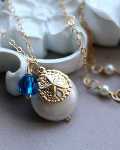 Sand Dollar Necklace Freshwater Coin Pearl and by LRoseDesigns, $36.50