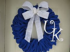 UK Royal Blue Burlap Wreath by TowerDoorDecor, $55.00