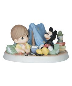 Precious Moments Disney Boy With Mickey In Tent Figurine | zulily
