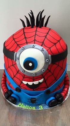 This Spiderman minion birthday cake is amazing and perfect for any superhero the. - This Spiderman minion birthday cake is amazing and perfect for any superhero the. Spiderman Birthday Cake, 4th Birthday Cakes, Minion Birthday, Superhero Cake, Minion Party, 6th Birthday Parties, Geek Birthday, 70th Birthday, Birthday Gifts