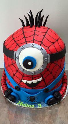 Spiderman Minion cake! Spiderman minion taart! Made by Angelique Bond