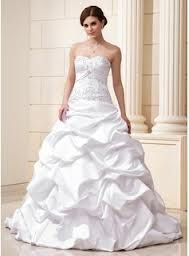 nice small sweetheart neckline, and has the bunched up bottom. supper cute.
