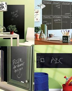 Creative ways to use chalkboard and don't forget to use Chalk Markers!  Get Now on SALE a 10 color Chalk Markers set including 2 whites + a GIFT of 32 Label Stickers.  http://www.amazon.com/dp/B0187DKT6Q   For additional 10% discount coupon e-mail us: dosensepro@gmail.com