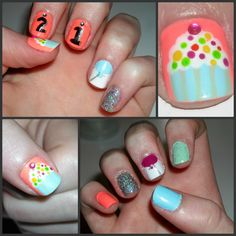My Birthday nails! cupcake nail art by Rebecca Rocha 21st Birthday Nails, Birthday Makeup, Cupcake Nail Art, Homemade Butter, Cold Meals, Holiday Nails, How To Do Nails, Nail Ideas, Nailart