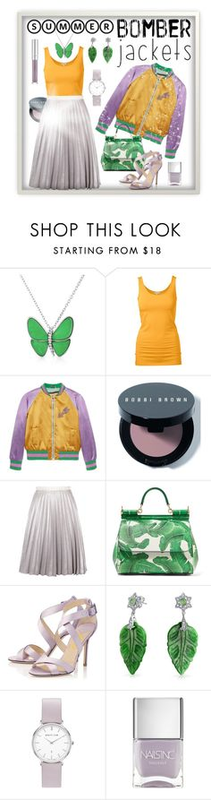 """Summer Bomber Jacket - Purple, Mustard, Green"" by giovanina-001 ❤ liked on Polyvore featuring Bling Jewelry, Gucci, Bobbi Brown Cosmetics, Antipodium, Dolce&Gabbana, Nails Inc. and bomberjackets"