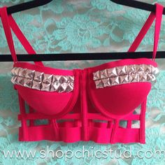 Studded Caged Bustier Bra Top Black or Red by ShopChicStud