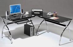 Techni Mobili Tempered Glass Computer Desk