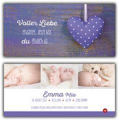 Emma: Geburtskarte 210x100 mm // Karte auch mit einem unserer anderen Herzen erhältlich // (©Fotos: http://www.corinnechollet.ch)