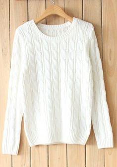 White Round Neck Long Sleeve Cotton Sweater