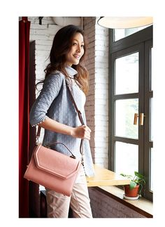 Zip-Back Flap Satchel, Pink , One Size - MBaoBao | YESSTYLE