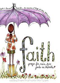 Faith Girl with Umbrella Print (Hebrews 11:1)