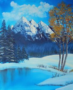 WINTER Wonderland on CANVAS Acrylic Painting by ABrushOfLife