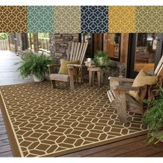 This beautiful geometric tile pattern area rug will help your outdoor spaces feel more like home with its wide range of cool and bright colors. This durable polypropylene rug will endure the elements and continue to look great for many years.