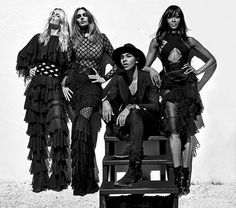 "Cindy, Naomi, Claudia & Balmain  ""I felt like I was dreaming as I was watching the photo shoot, because I knew it was going to be something iconic that I would never forget,"" he said. ""You realize working with them, it's another way than working with the models of today. They know so much about themselves. Their career is so strong. They know their bodies so well. They move at the same time that the camera is moving. Steven also knows them so well, so it was such a good synergy."""