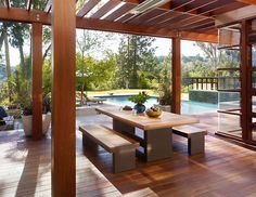 backyard bench covered area design home design living area outdoor living area outdoors pool table tropical wood wooden deck landscape