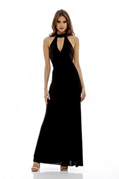 67f8110c5a76 Imported - Be stunning at any event with this floor length black maxi. Its  high neck and cut out plunge makes it elegant and sexy at the same time!