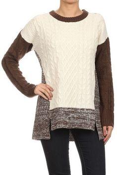 4c6999b94a0b9d Mystree Two-tone Mix Sweater 13293 - Ravishing   Rugged