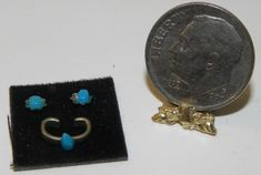 "Dollhouse Miniature ""turquoise"" Bracelet Display. Collectible doll accessory! 1:12 Scale. 
