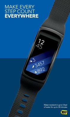 Not only will all your moves and heartbeats count across multiple sports and activities, the Samsung Gear Fit2 also brings you music, calls, texts and more when paired with your Android phone. Rock your workouts without missing anything while you map your miles with built-in GPS. And never mind the weather, the Gear Fit2 is water-resistant and ready for whatever activity your fitness goals bring you. Stop by Best Buy and check it out for yourself. Ask any Blue Shirt for help.