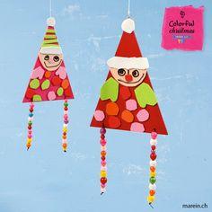 Lustige Kobolde // MDF-Flaggen mit Acryl Basic Farbe bemalen und mit ausgeschnittenen Stücken selbstklebenden Moosgummi dekorieren. Für die Beine bunte Holzperlen auf dem Baumwollband aufreihen. http://www.marein.ch/basteln/6419/lustige-kobolde/