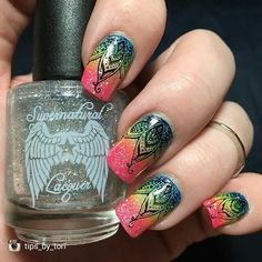 repost from @tips_by_tori I'm really loving the way these turned out! I did a gradient using @pipedreampolish ANIVC on the list light of day and all in then topped it with the gorgeous Fallen Grace from @supernatural_lacquer (releasing May 4th - don't forget to use code TBT10 for 10% off in her store!!). Stamping is done using @paintedpolishbylexi's midnight mischief and @uberchicbeauty plate 7-02…