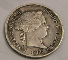 1868 Spain Spanish 20 Centimos Cents Coin Free by OlyTrader