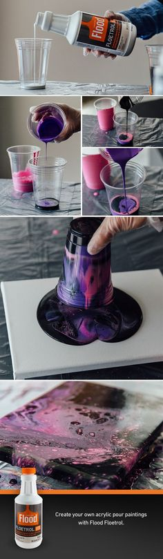Acrylic Pouring with Floetrol | Learn how to create your own acrylic pour masterpiece. Floetrol is an essential ingredient in the recipe to help form cells. We've included our own pour recipe, step by step instructions on how to do a dirty pour, and where to find Flood Floetrol to purchase it.