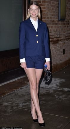 Off to a stylish start: Jaime King sexed up her navy tailored suit with a pair of thigh-skimming sheer shorts as she kickstarted her New York Fashion Week attendance with an appearance at Gant's Spring/Summer '16 presentation
