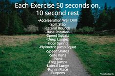 Each Exercise 50 seconds on, 10 second rest. -Acceleeration Wall Drill. -Split Step. -Lateral Bounds. -Base Rotation. -Speed Squats. -Deep Lunges. -Floor Sprints. -Plyimetric Jump Squat. -Speed Skates. -Side Runs. -Lateral Lunge. -Burpees. -Run in Place. -Frog Jumps. -Plank #drmindypelz @drmindypelz