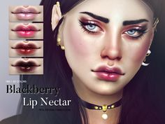 Sims 4 CC's - The Best: Blackberry Lip Nectar by Pralinesims // http://vaidososimmer.tumblr.com/