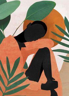LIGHTEN YOUR STRESS💫 – URBAN GYPZY Art And Illustration, Illustrations, Arte Inspo, Doodle Drawing, Tropical Girl, Arte Pop, Diy Canvas Art, Painting Inspiration, Watercolor Art