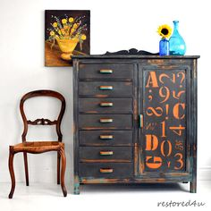 Letters-numbered dresser/cupboard