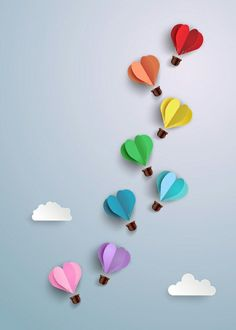 Hot Air Balloon In A Heart Shape. : Hot air balloon in a heart shape. Kids Crafts, Diy Crafts For Gifts, Diy Home Crafts, Crafts To Do, Preschool Crafts, Arts And Crafts, Decoration Creche, Diy Para A Casa, Flower Background Wallpaper